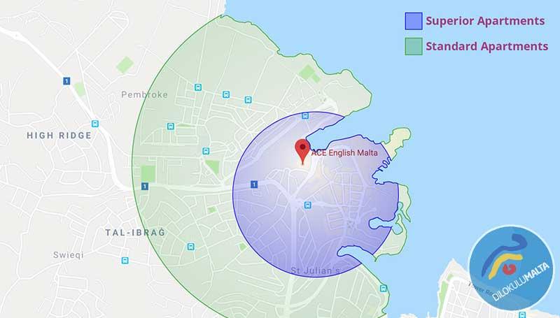 ACE Malta Konaklamaları Okula Yürüyüş Mesafesinde